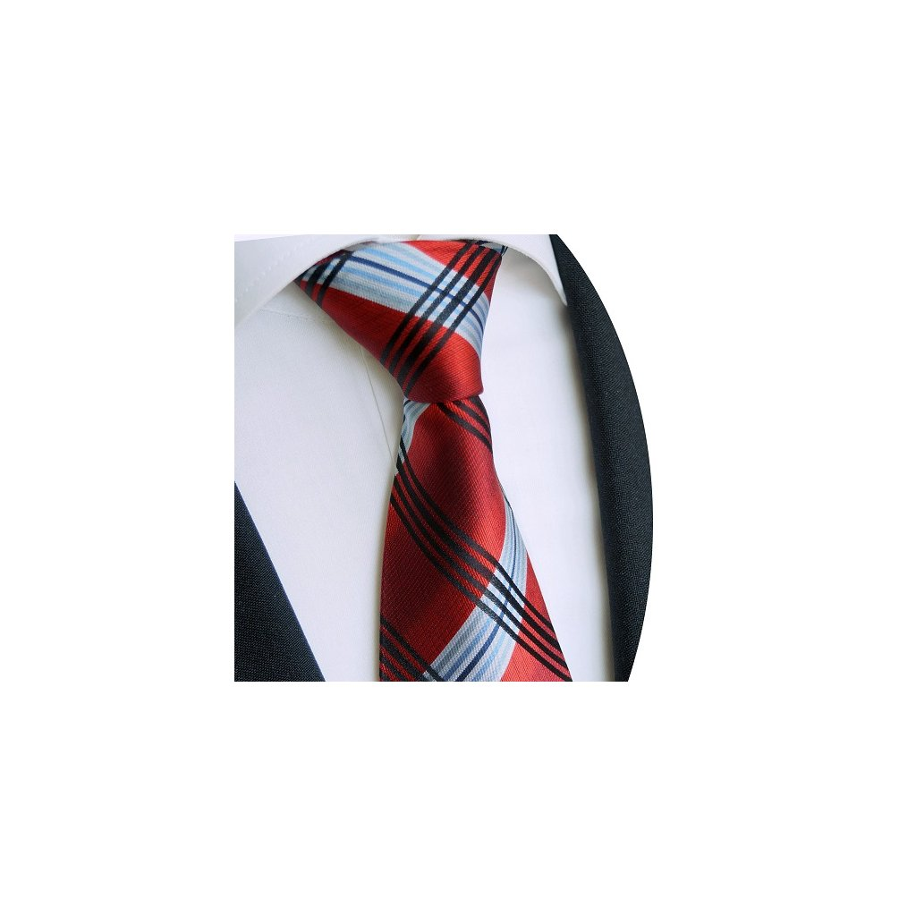 Červená kravata Beytnur 234-1 modré a černé pruhy