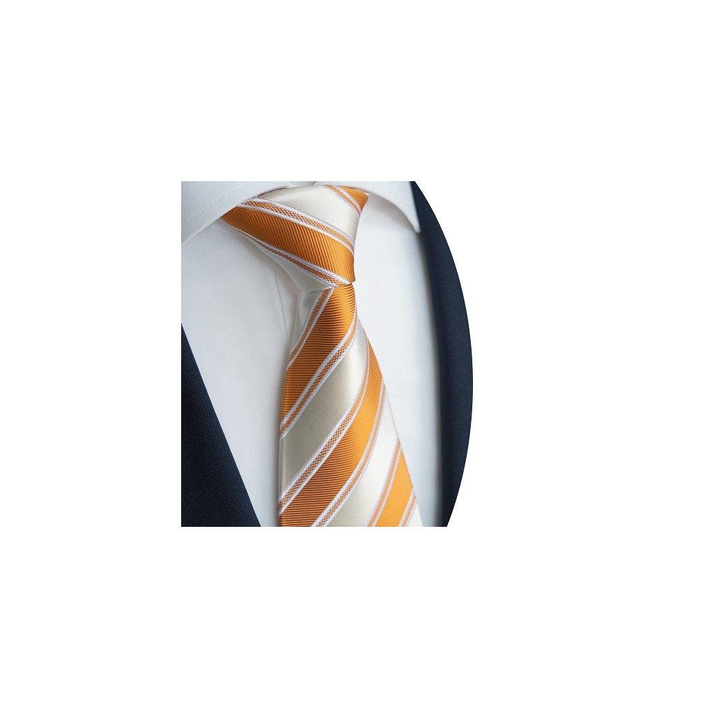 Kravata Beytnur 230-1 oranžové pruhy