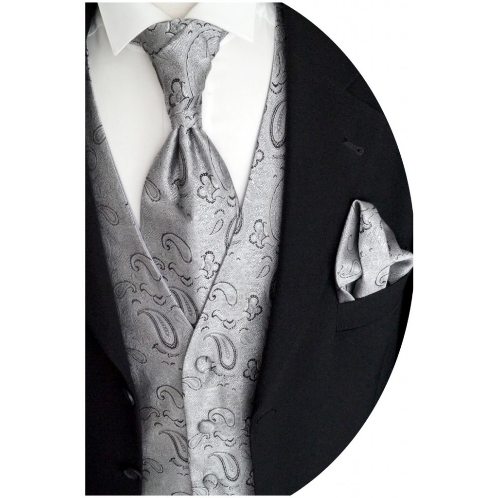 23 8 svatební vesta stříbrná