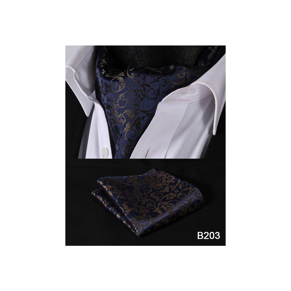 pánský askot tmavě modrý vzor