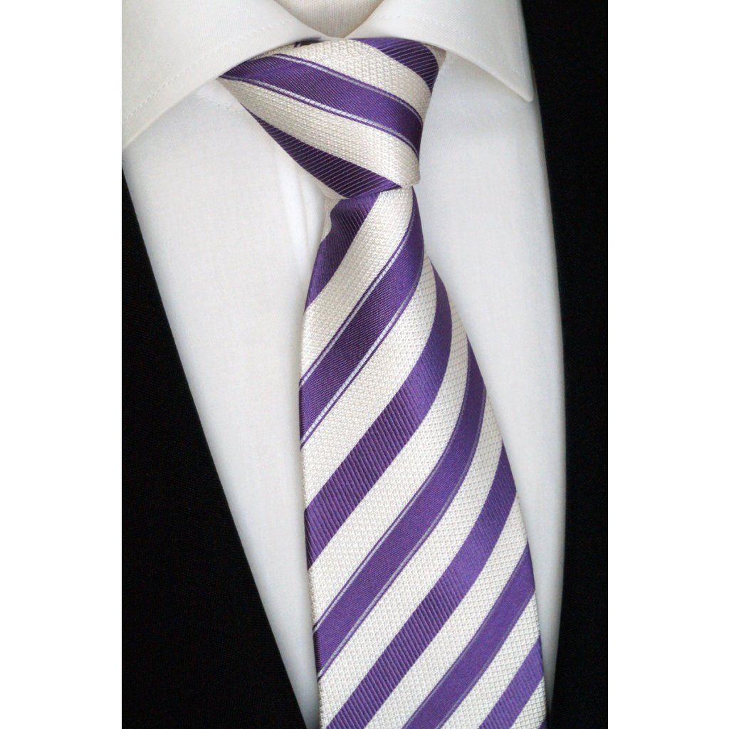 fialovo bílá kravata