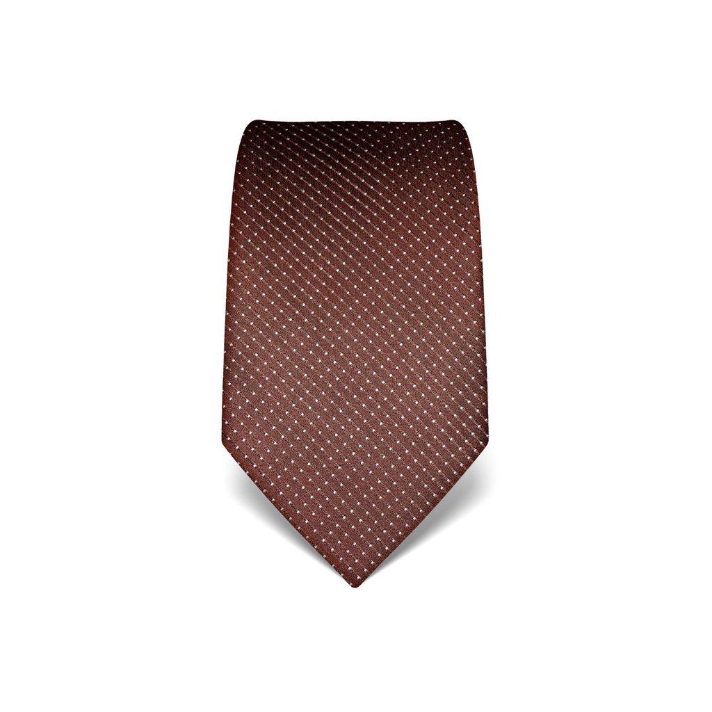 Luxusní hnědá kravata s prošitím V. Boretti 21991