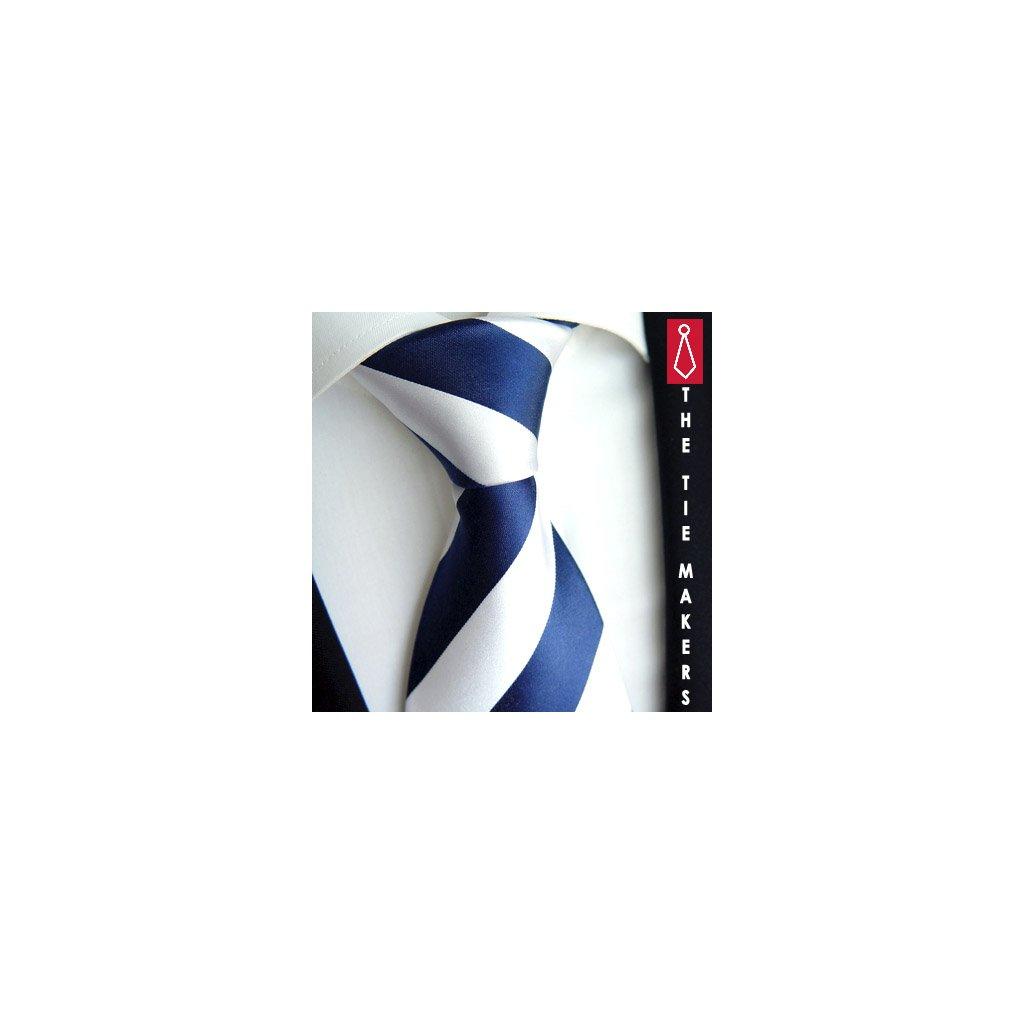 100% hedvábná kravata Beytnur 114-6 bílo modrá