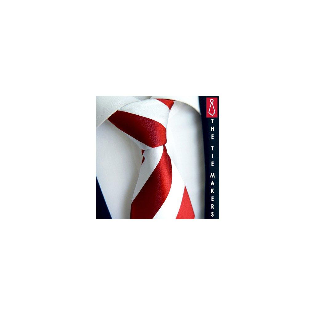 100% hedvábná kravata Beytnur 114-4 bílo červená