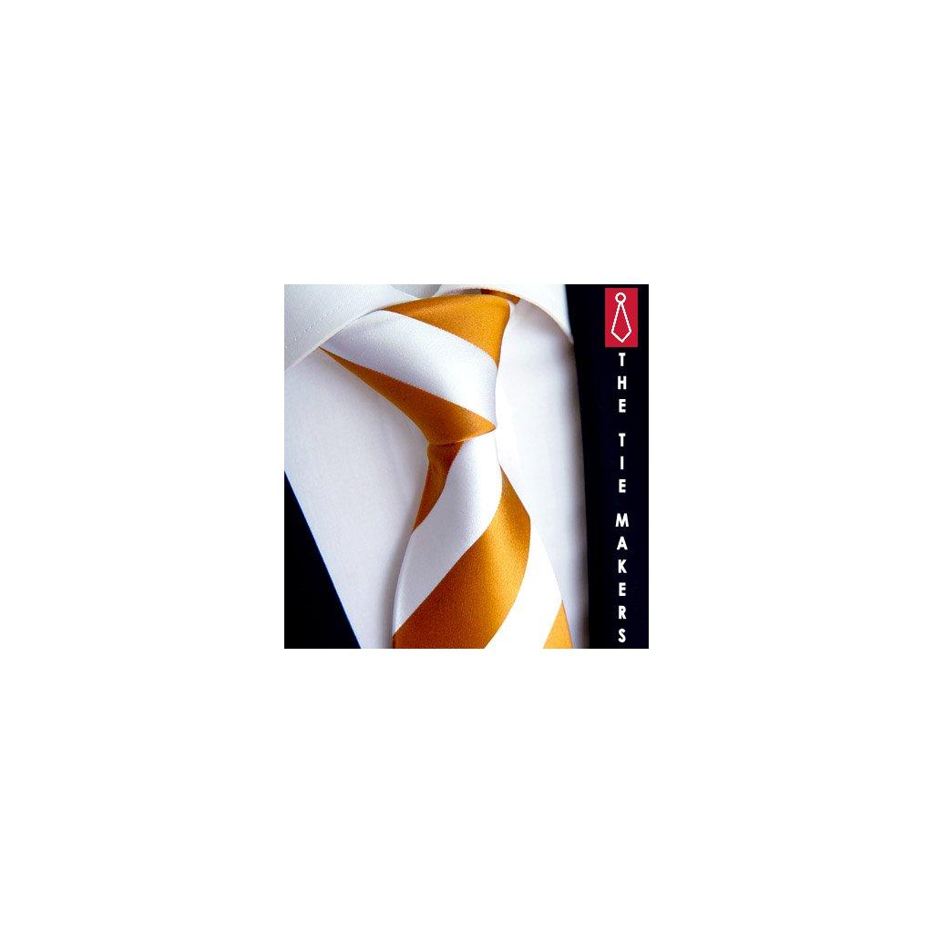 100% hedvábná kravata Beytnur 114-2 bílo oranžová