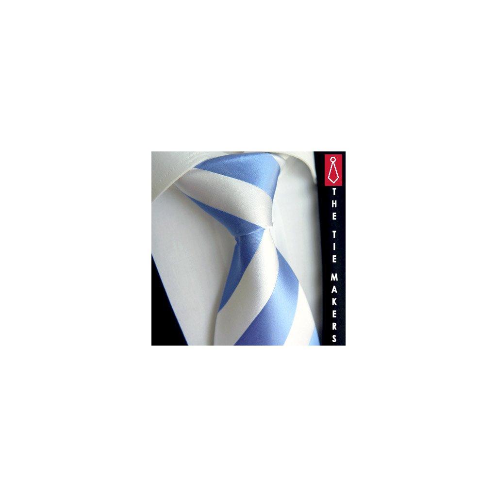 100% hedvábná kravata Beytnur 114-3 bílo modrá