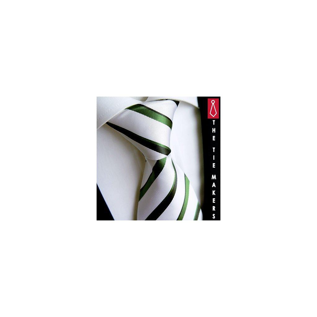 Hedvábná kravata Beytnur 18-8 bílo zelená