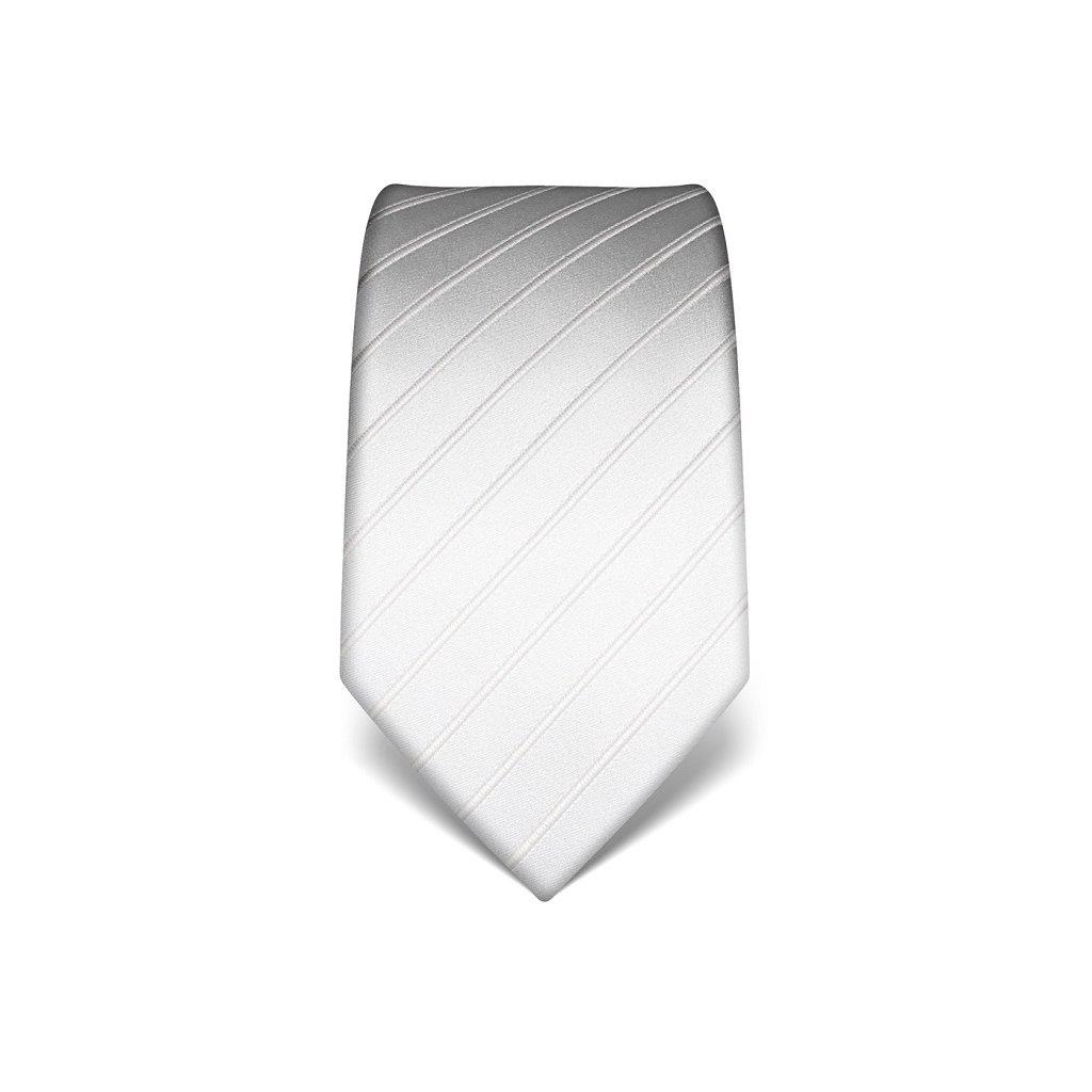 Svatební kravata bílá s pruhem
