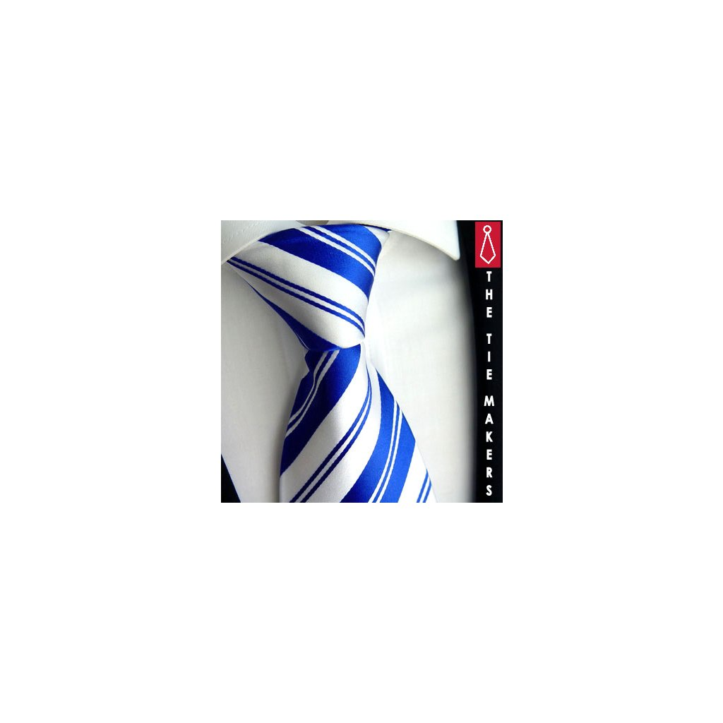 Modrobílá kravata Beytnur 103-10 pruhovaná
