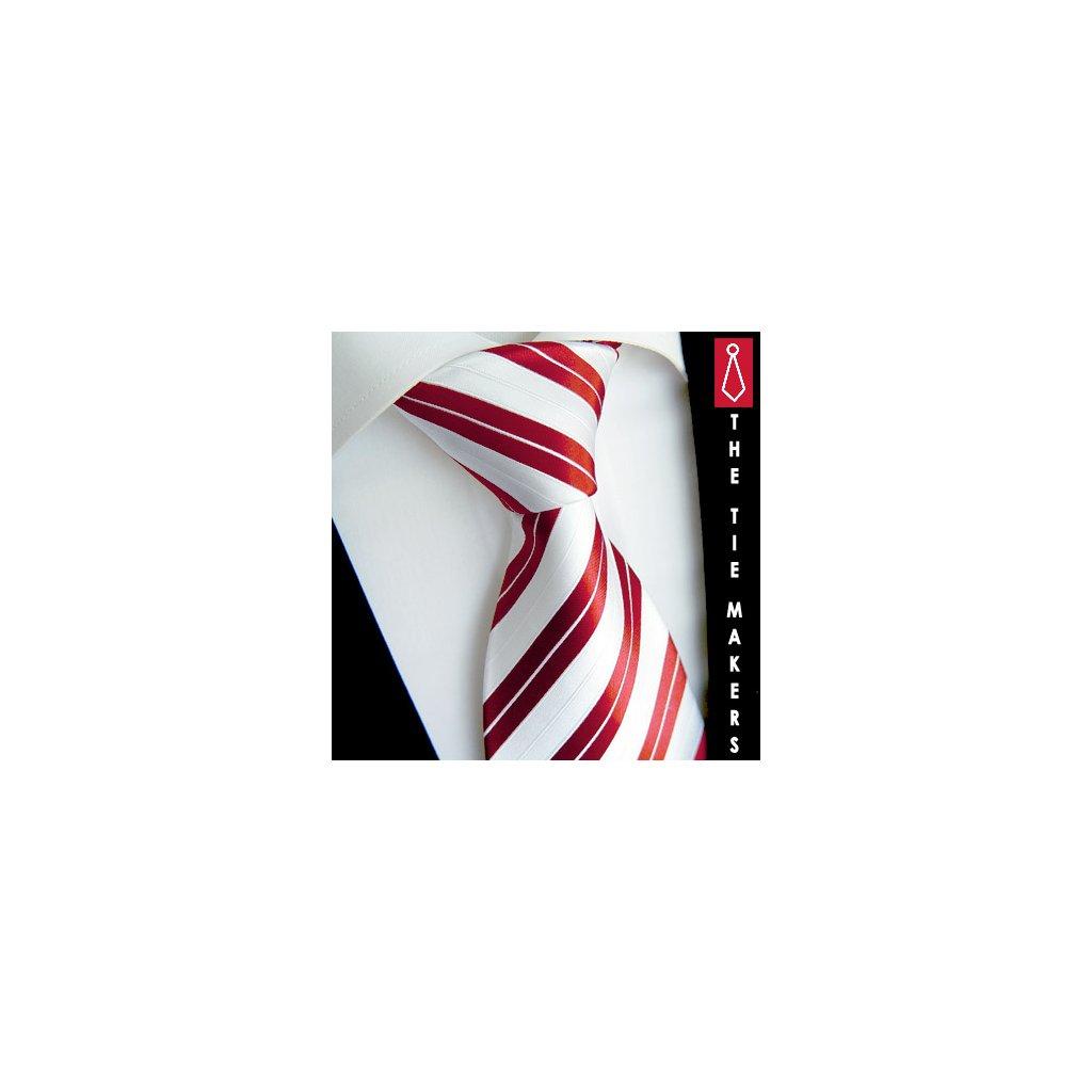 Hedvábná kravata Beytnur 128-6 tmavě červená - bílá