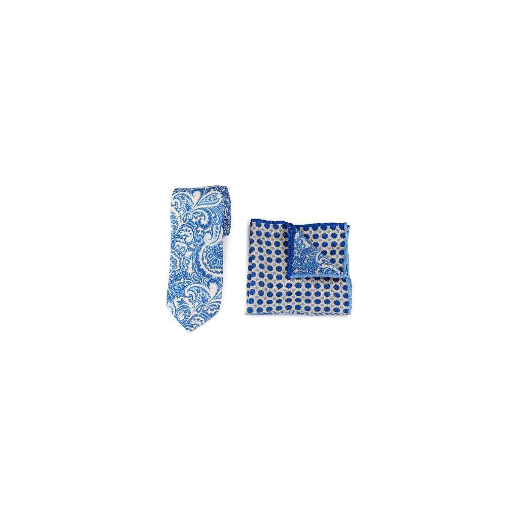 Luxusní set vlněné kravaty a kapesníčku - modrý