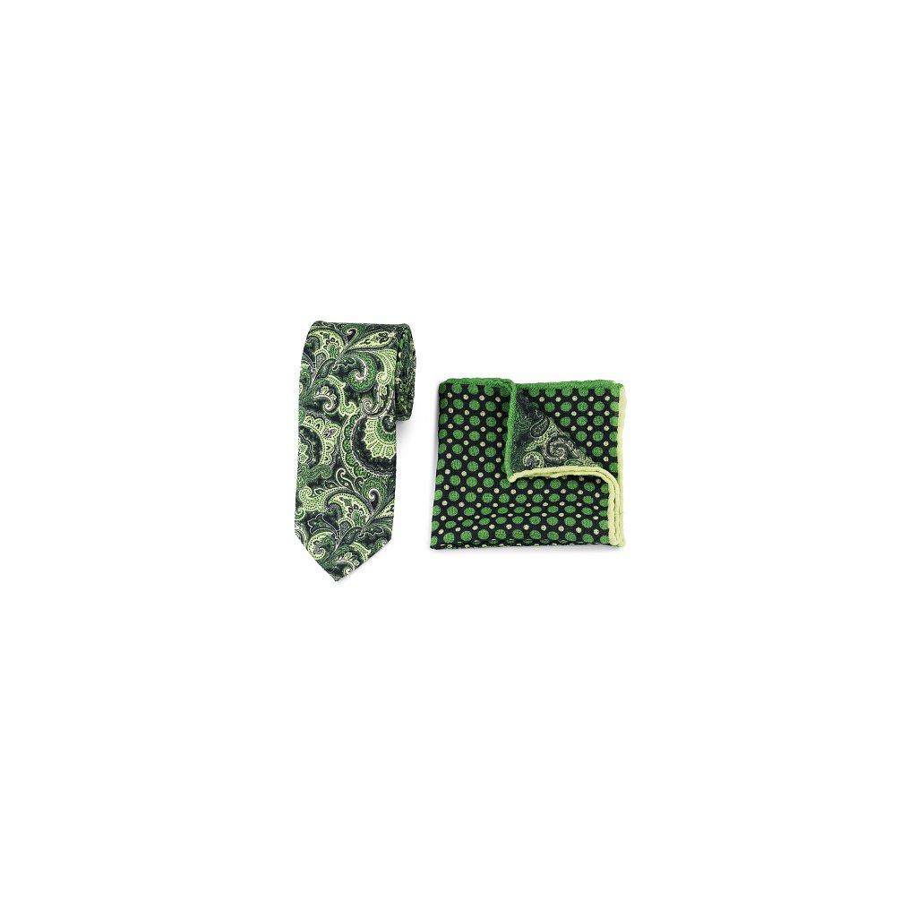Luxusní set vlněné kravaty a kapesníčku - zelený