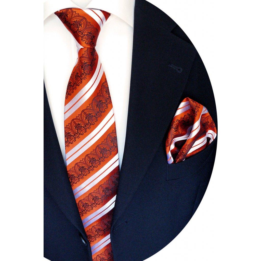 hedvábná kravata oranžová pruh vzor