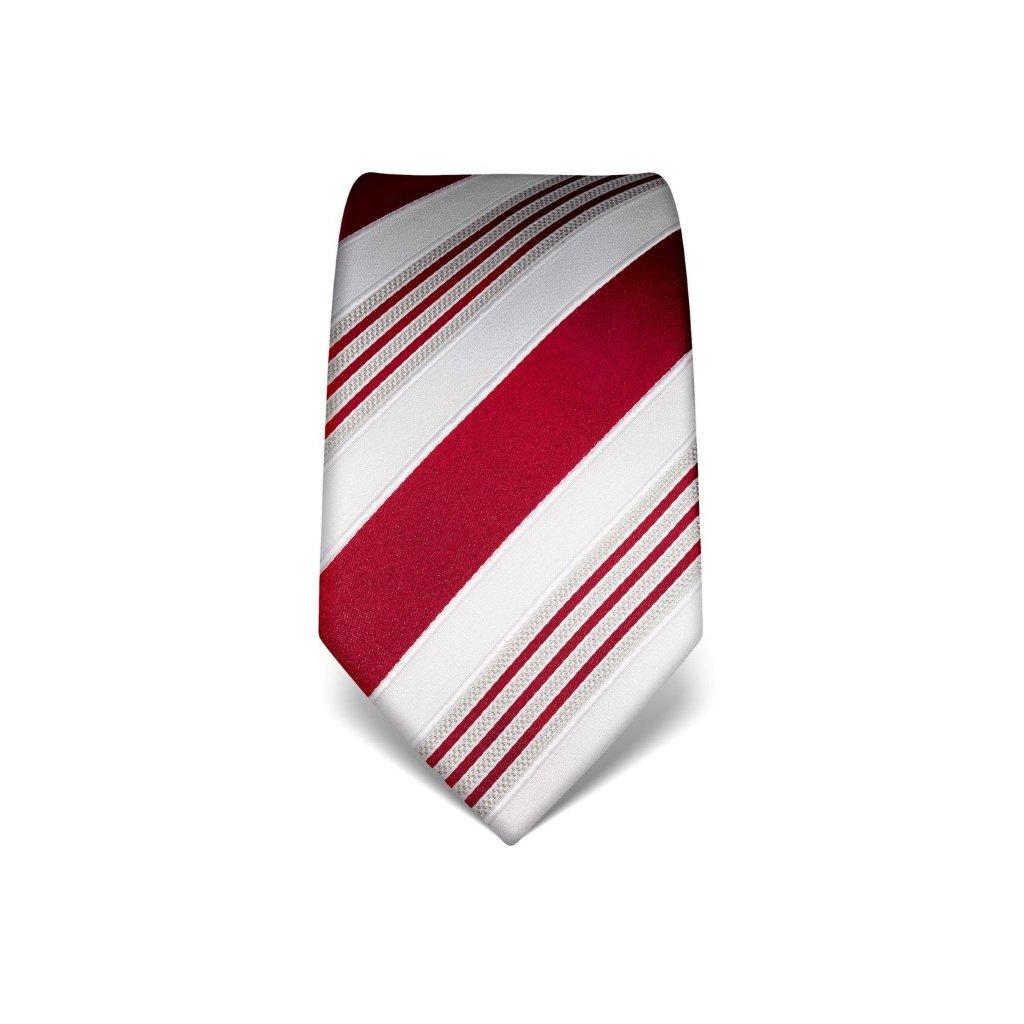 Luxusní pruhovaná kravata Vincenzo Boretti 21911 - červená