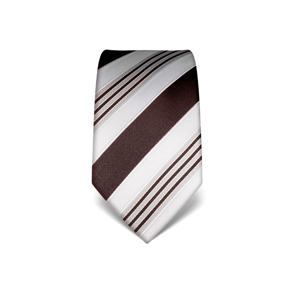 Luxusní pruhovaná kravata Vincenzo Boretti 21911 - hnědá