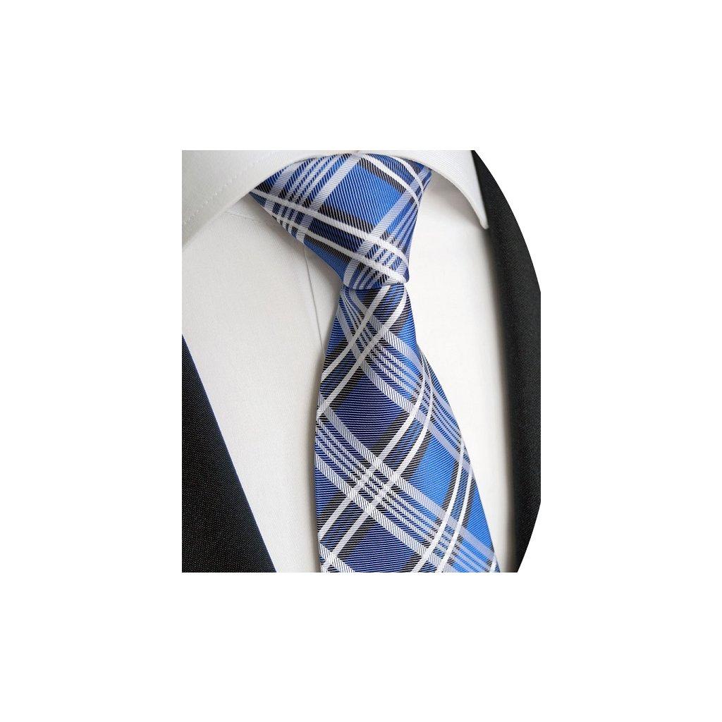 Moodrá karo kravata Beytnur 240-3