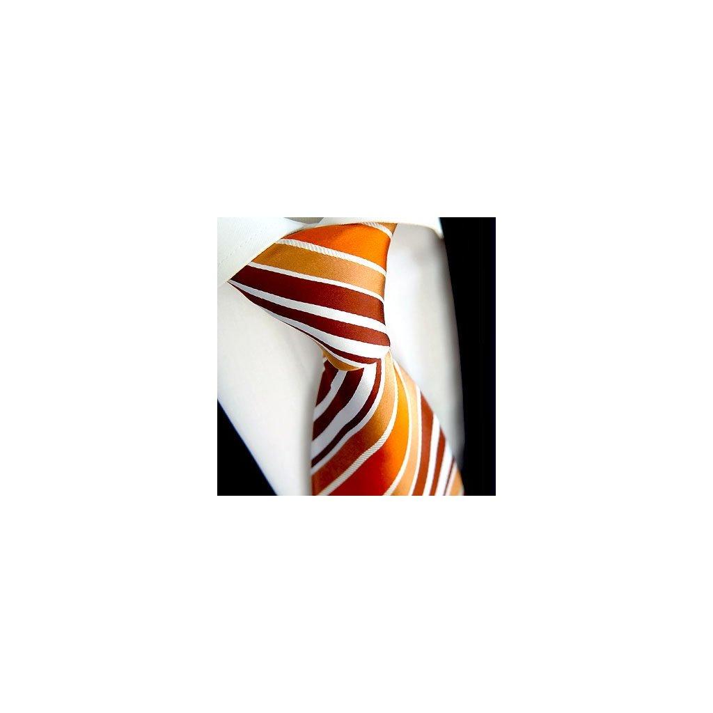 Oranžová pruhovaná kravata Beytnur 42-6