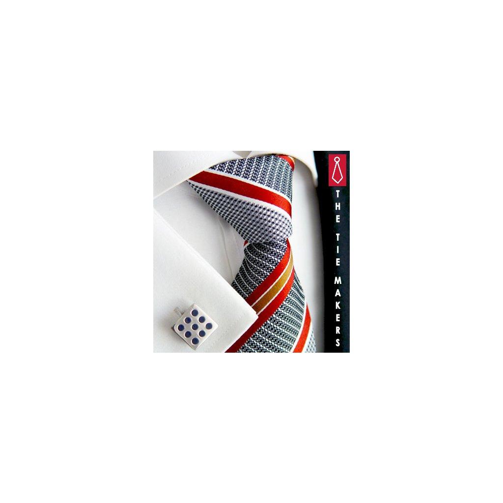 Luxusní hedvábná kravata šedá  s oranžovým pruhem 210-2