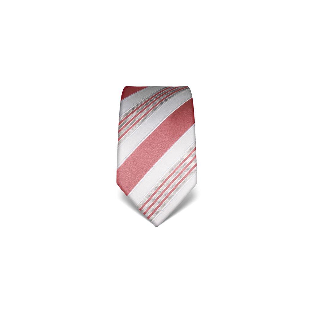 Luxusní pruhovaná kravata Vincenzo Boretti 21911 - starorůžová