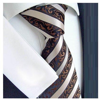 Beytnur 177-4 luxusní hedvábná kravata hnědá