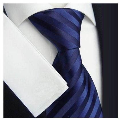 Elegantní tmavě modrá pruhovaná kravata Beytnur 139-5