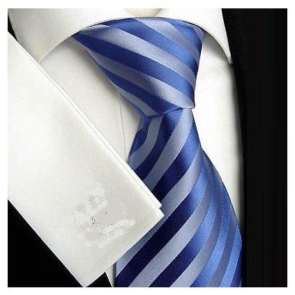 Elegantní modrá pruhovaná kravata Beytnur 139-2