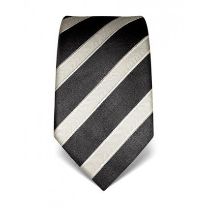 Antracitová kravata Vincenzo Boretti 22001- s šedým pruhem