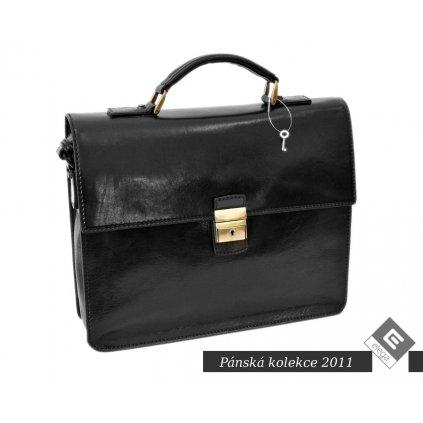 Luxusní kožená spisovka - černá