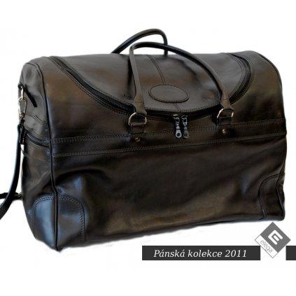 Velká kožená cestovní taška, černá, hnědá