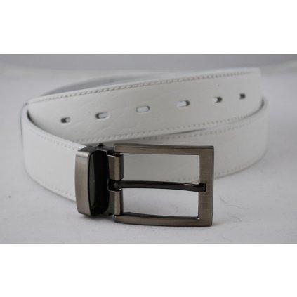 Bílý pánský pásek s trnovou sponou L