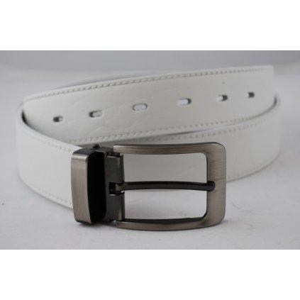 Bílý pánský pásek s trnovou sponou D