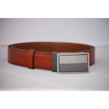 Pánský kožený pásek červenohnědý - plná spona LM3