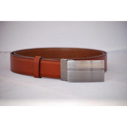 Pánský kožený pásek červenohnědý - plná spona LM5