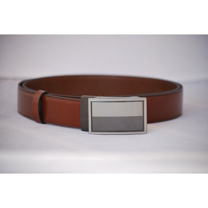 Pánský kožený pásek hnědý - plná spona LM3