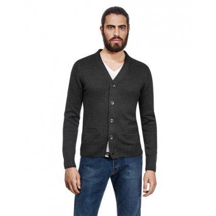 Pánský svetr na knoflíky Vincenzo Boretti - antracit