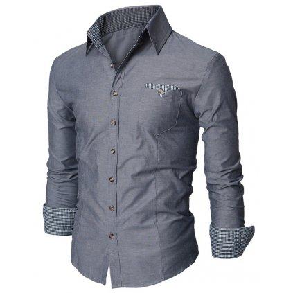 1c537727c1e Elegantní pánská bavlněná košile šedé barvy-S -do 1-3 dní