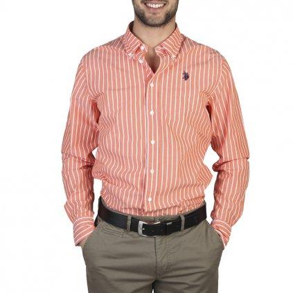 U.S. Polo pánská košile oranžová proužek-do 1-3 dní-39/40(M)