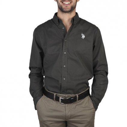 U.S. Polo pánská košile tmavá černozelená-do 1-3 dní-43/44(XL)