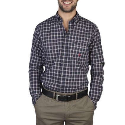 U.S. Polo pánská košile modrá kostička 875-do 1-3 dní-43/44(XL)