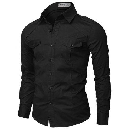 Černá pánská košile Doublju s kapsami-XL