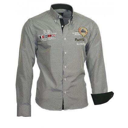 Luxusní pánská košile Binder s výšivkami - černá-41/42(L)