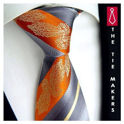 Svatební kravata Beytnur 206-1 šedo oranžová