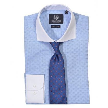 Luxusní modrá pánská košile Gagliardi s bílým límcem a manžetami