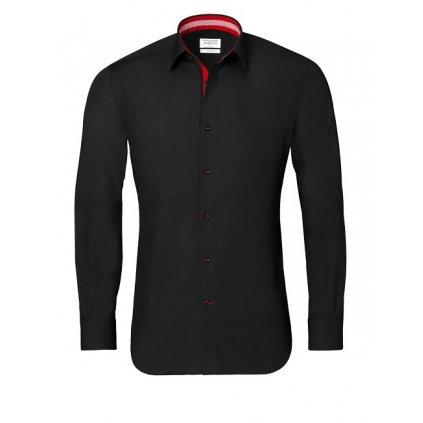Černá košile s červenými doplňky, dual manžety Vincenzo Boretti , SF687