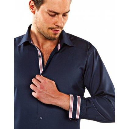 Tmavě modrá košile s červenými doplňky, dual manžety Vincenzo Boretti , SF693