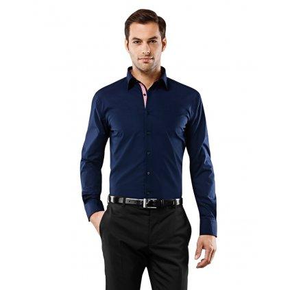 Tmavě modrá košile s červenou kostičkou Vincenzo Boretti