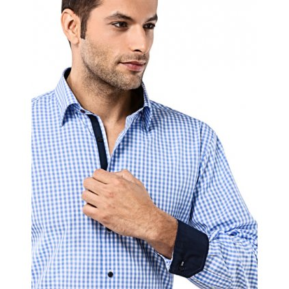 Světle modrá kostičkovaná košile Vincenzo Boretti