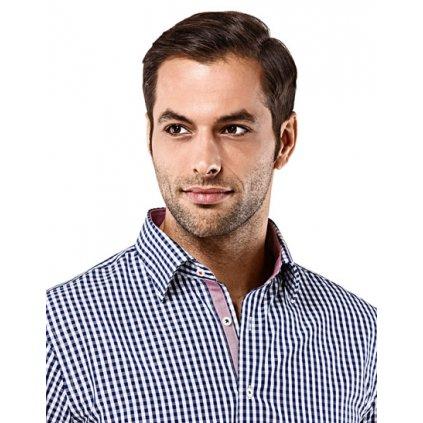 Tmavě modrá kostičkovaná košile Vincenzo Boretti