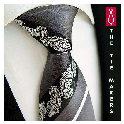 Nevšední kravata Beytnur 206-6 šedo černá