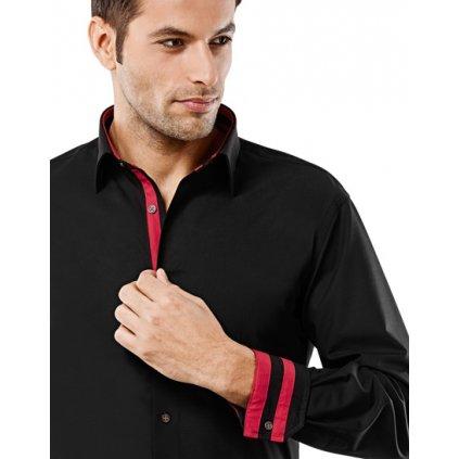 Černá košile s červenými doplňky Vincenzo Boretti, dual manžety, RF716